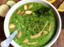Courgette, rocket and pea soup