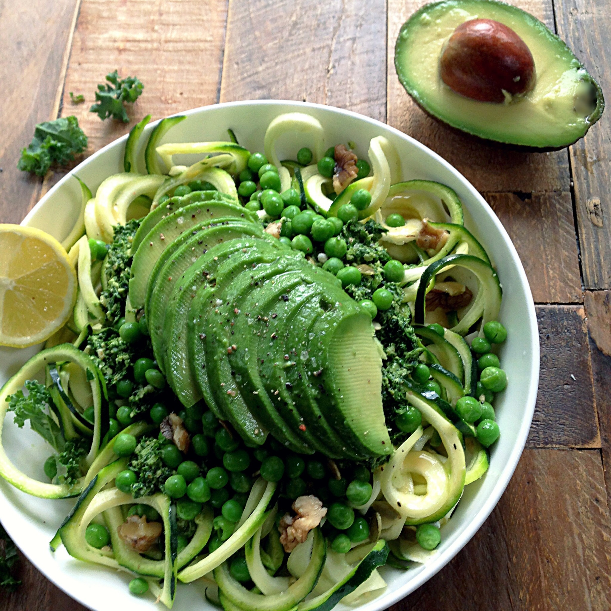Top ten healthy and light vegan dinners rebel recipes courgette pasta with kale pesto forumfinder