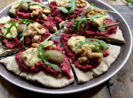Buckwheat flatbread pizza with beetroot hummus