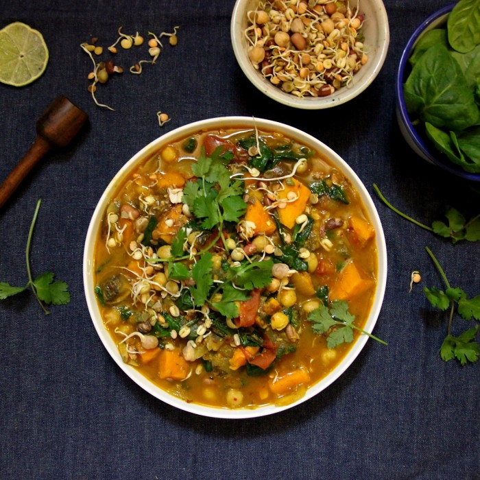 Sweet potato, coconut and peanut curry