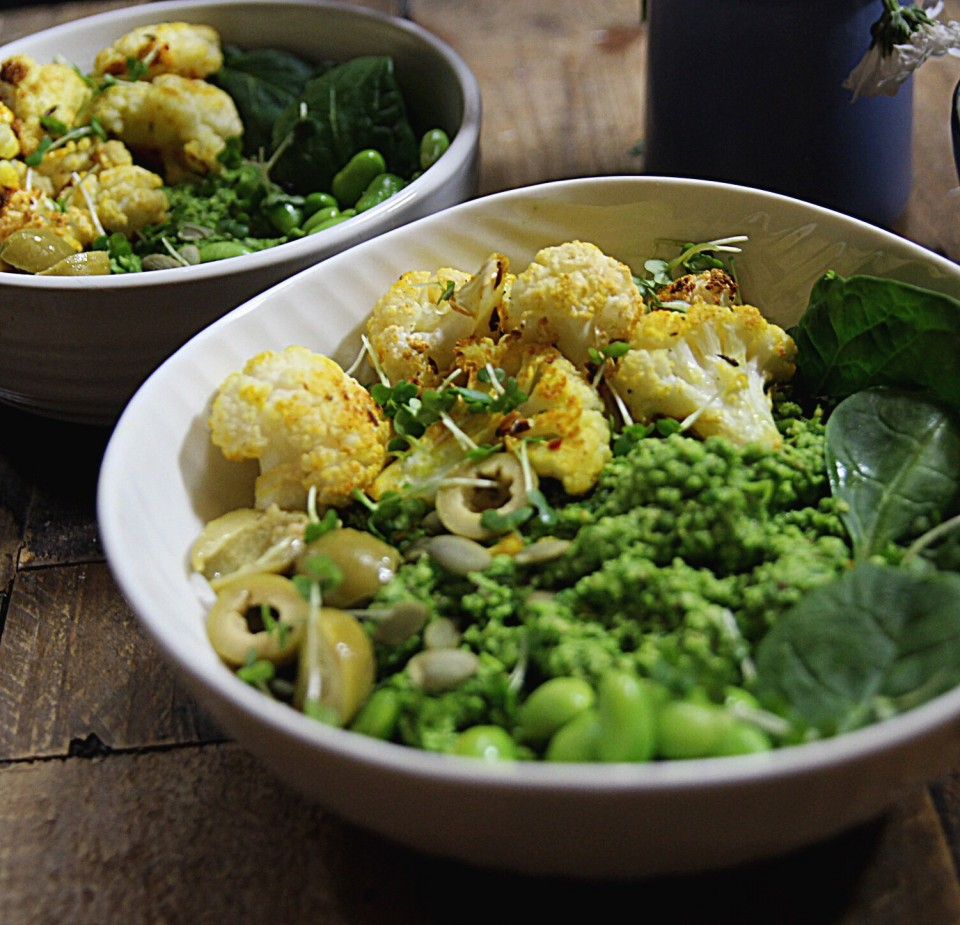 Roast Cauliflower with Edamame and spinach mash