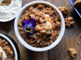 Carrot Cake Baked Oatmeal with Lemon Cream