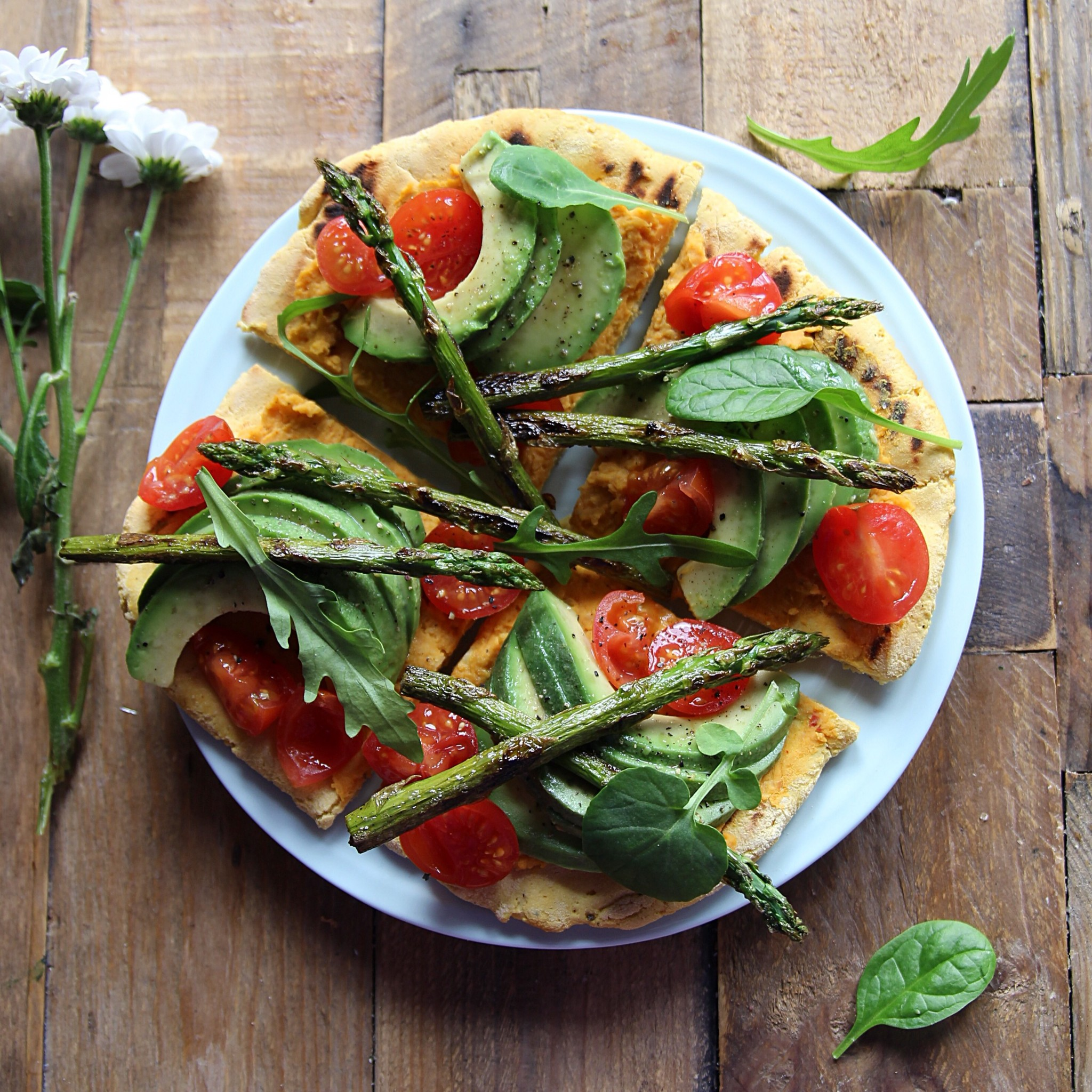 chickpea flatbread pizza