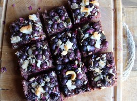 Beetroot banana blueberry flapjacks