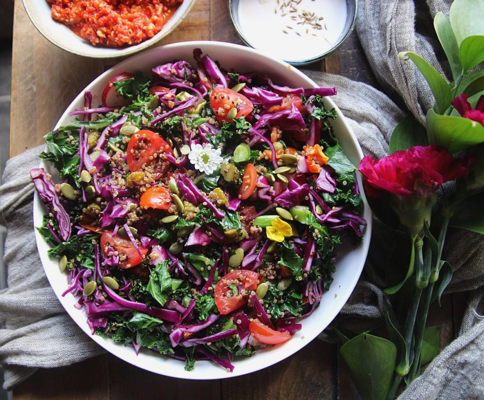 Super Healthy Kale and Red Cabbage Salad