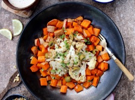 Roast Cauliflower and Butternut Squash with Tahini Dressing