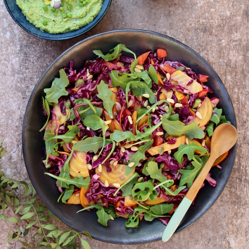 Roast Aubergine with Rainbow Slaw and Pea & Avocado Hummus