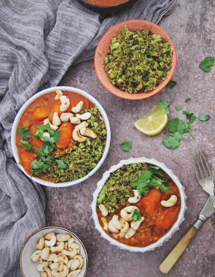 Carrot and Lentil Curry with Broccoli Rice