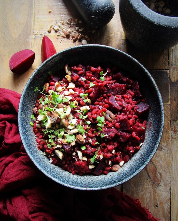 Beetroot Risotto with Ancient Grains (Vegan)