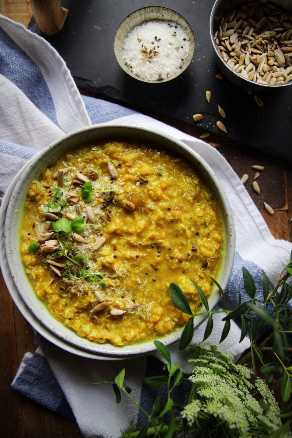 Red Lentil and Coconut Dal with Toasted Sunflower Seeds
