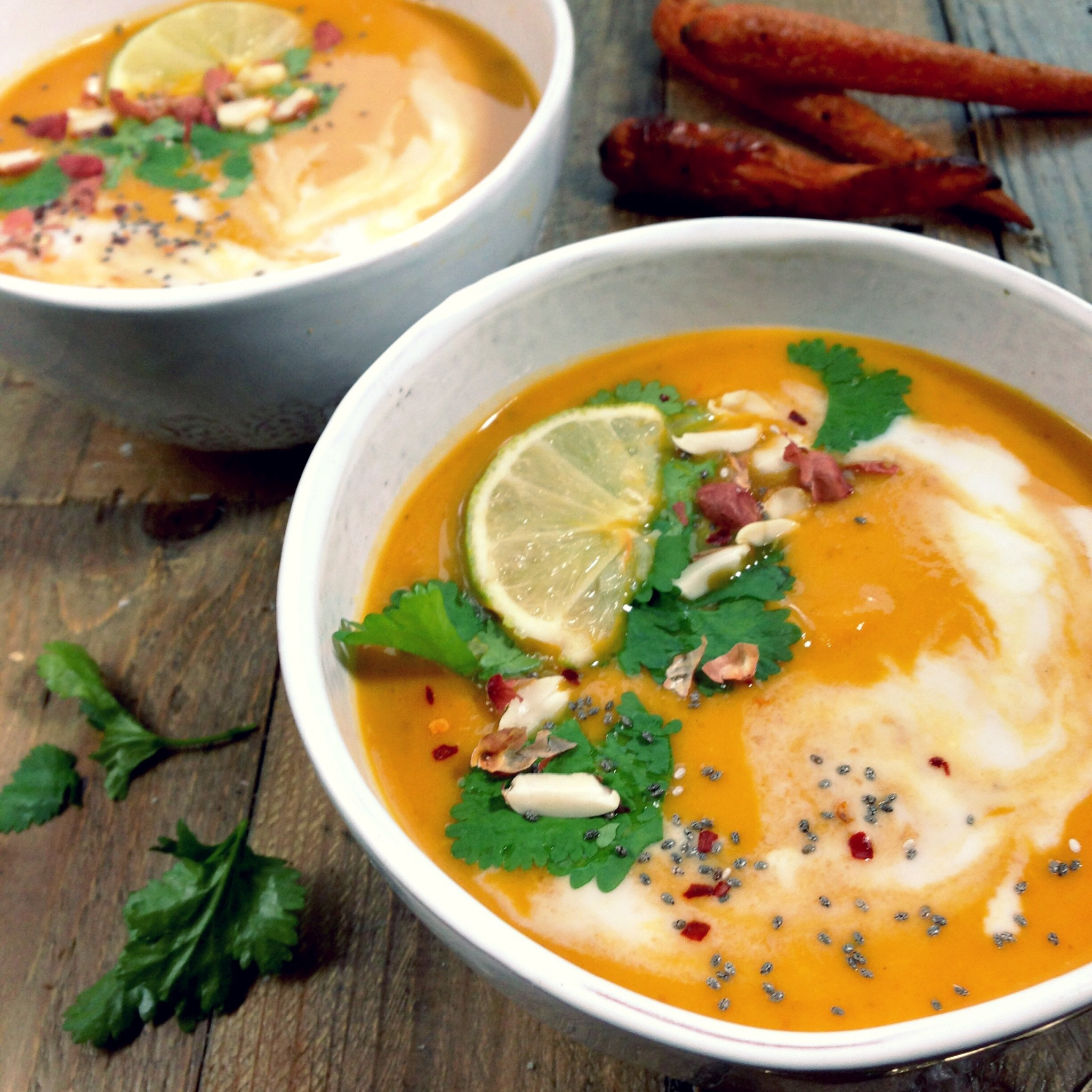 Red Thai sweet potato and carrot soup