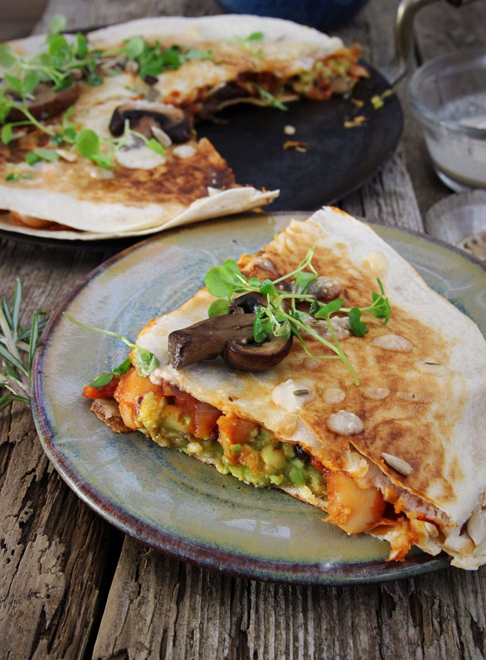 picy Bean, Mushroom & Avocado Quesadilla (Vegan & Gluten Free)