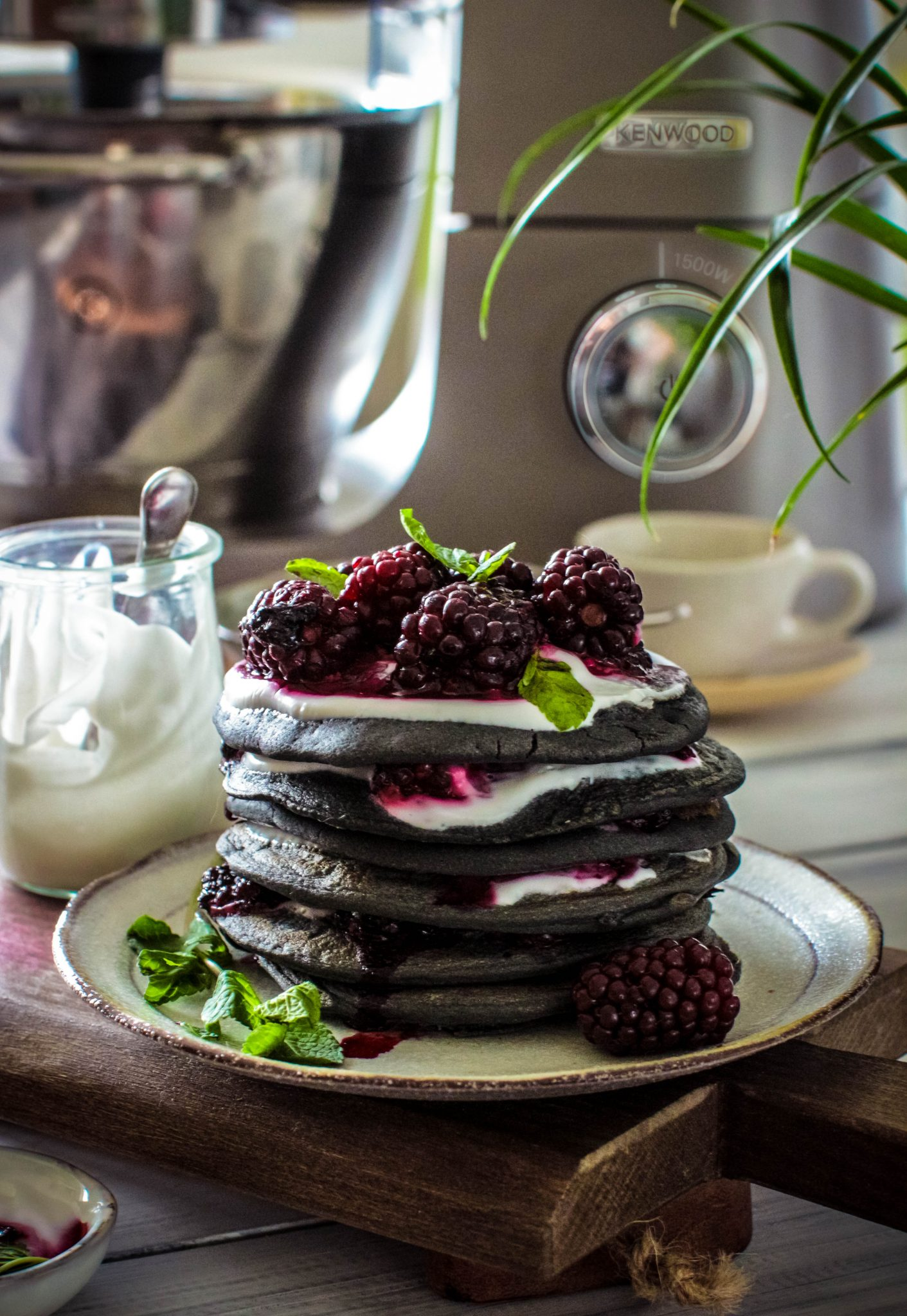 Activated Charcoal Pancakes With Blackerry Compote With